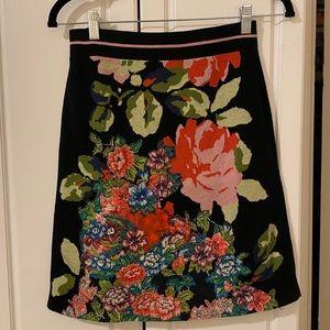 Anthropologie embroidered knit skirt black floral